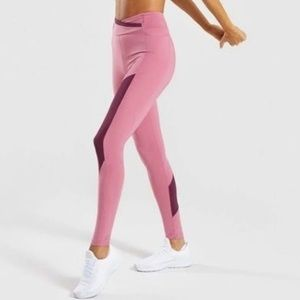 Gymshark pink color block leggings. Medium.